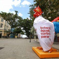 Estátuas do Galo da Madrugada se vestem para incentivar consumo consciente