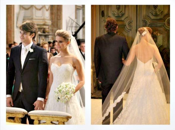 Eduarda Dubeux preferiu um modelo tomara-que-caia com decote em V nas costas para subir ao altar e trocar o sim com Victor Carvalheira  - Créditos: Nando Chiappetta/DP/D.A Press