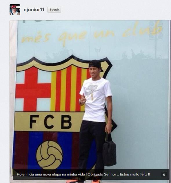 Neymar já está em Barcelona - Crédito: Reprodução Instagram