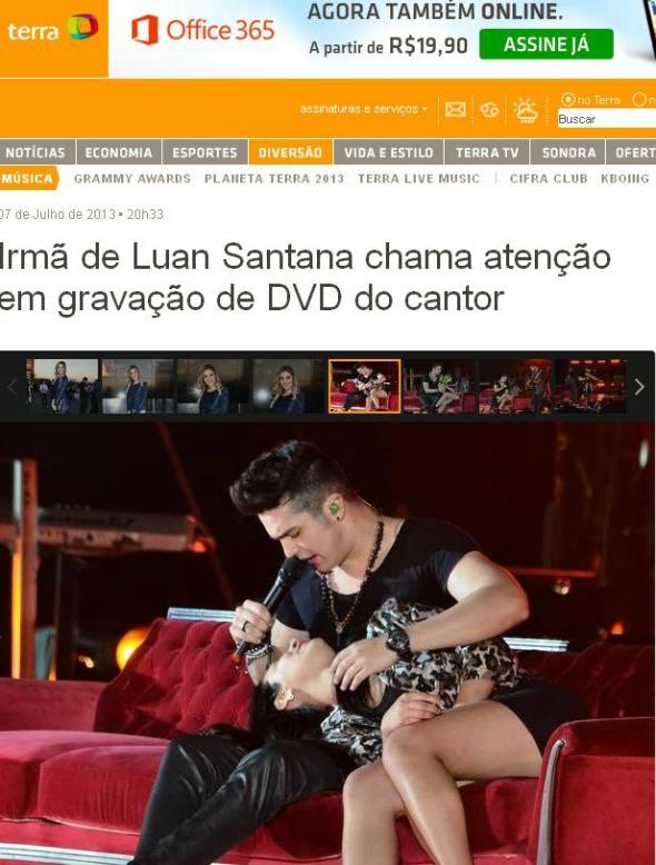 Luan Santana recebeu fã no palco - Crédito: Reprodução Portal Terra