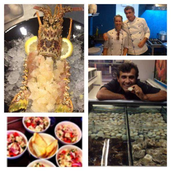 Lagosta viva; Os chefs Dani Brito e Paolo; e o empresário Hugo Campos com as ostras frescas - Fotos: guilherme Menezes/Instagram