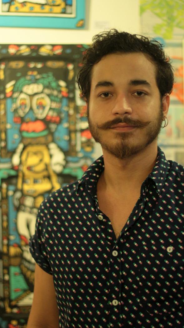 Manoel Quitério produz intervenção artística na Avesso, de Cris Pontual - Crédito: Marília Morais