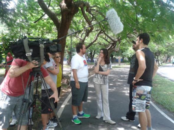 Ficando famoso: gravando para o programa Encontro com Fátima Bernardes. Crédito: Arquivo pessoal / Divulgação