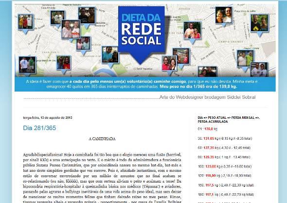 Site narra as andanças diárias de Mandrey. Crédito: Reprodução www.dietasocial.com.br