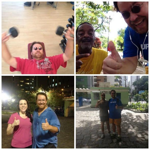 Andrey com seus voluntários e com o músico Naná Vasconcelos, quase 30 kg mais magro. Crédito: Arquivo pessoal