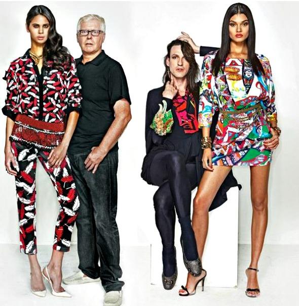 Robert Forrest (à esquerda) e Dudu Bertholini ao lado das modelos que vestem suas criações para a Riachuelo - Foto: Renam Christofoletti