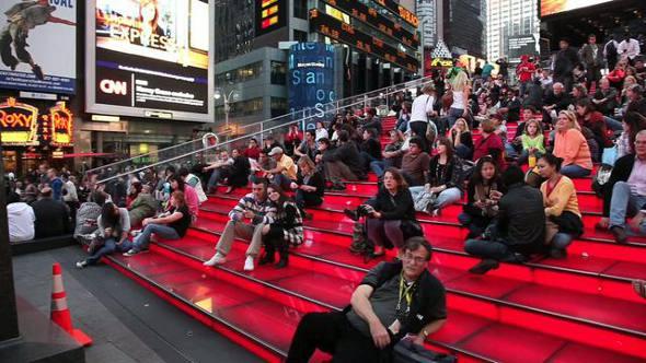 A arquibancada do Times Square