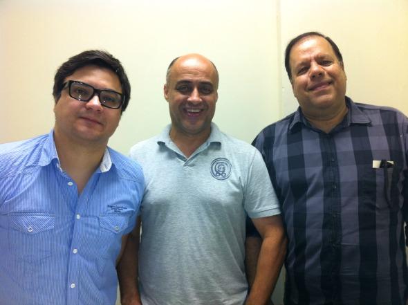 O produtor executivo Jackson Rocha, Tito Lívio e Giovanni Papaleo Crédito: Laís Siqueira/DP/D.A Press