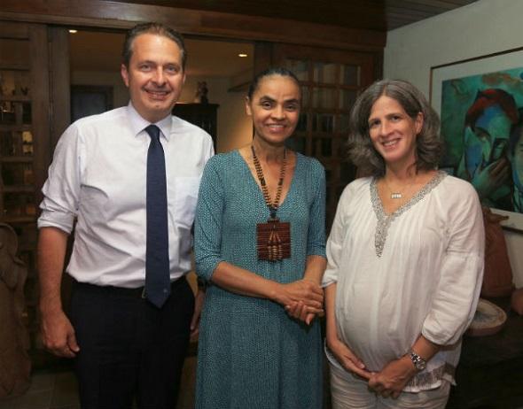 Eduardo Campos, Marina Silva e Renata Campos - Crédito: Roberto Pereira/PSB