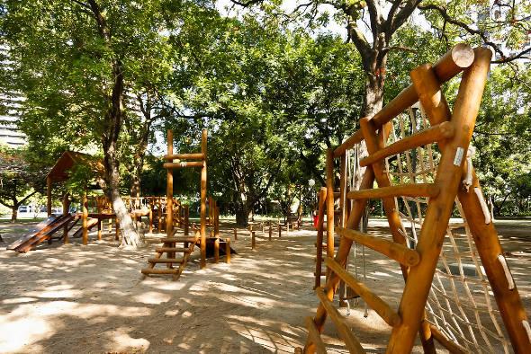 Brinquedos de madeira no Parque da Jaqeuira - Crédito: Andréa Rêgo Barros/PCR