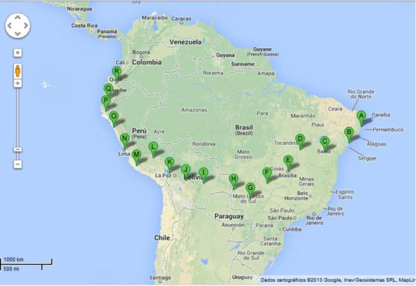 Rota dos pernambucanos. Crédito: Google maps
