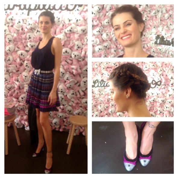 Isabelli Fontana com look criado por ela para a Lilica Ripilica. Detalhe para a sapatilha Chanel - Crédito: Cecília Ramos/DP.DA Press