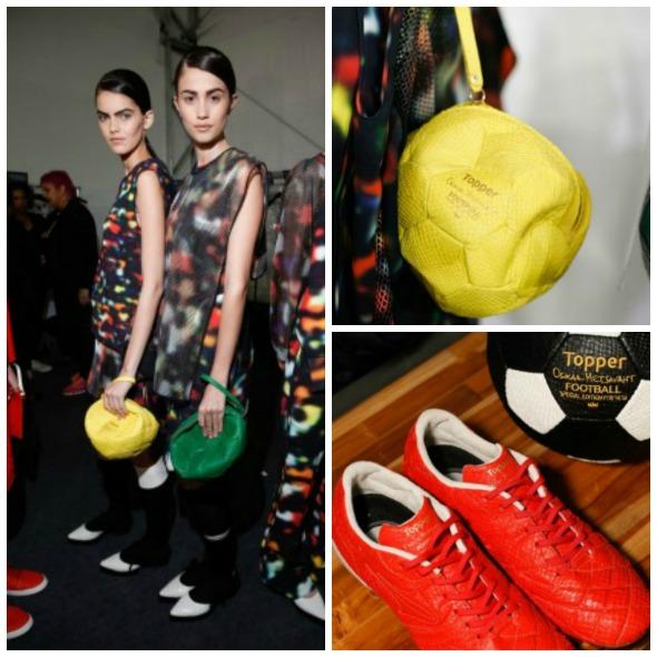 Sapatos-chuteiras e bolsas em formato de bola by Osklen-Topper - Fotos: Divulgação