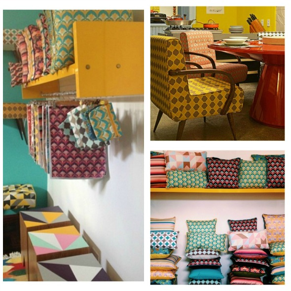 Produtos famosos da grife, como os bancos de pés palito, os tecidos exclusivos e almofadas - Fotos: Instagram @duas