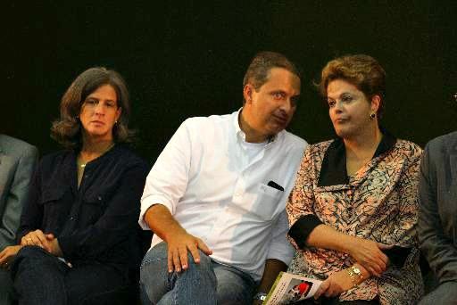 Renata, Eduardo campos e Dilma Rousseff, nos tempos em que eram aliados - Crédito: Annaclarice Almeida/DP/D.A Press