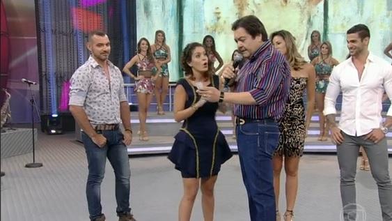 Bella no palco do Faustão - Crédito: Reprodução vídeo TV Globo
