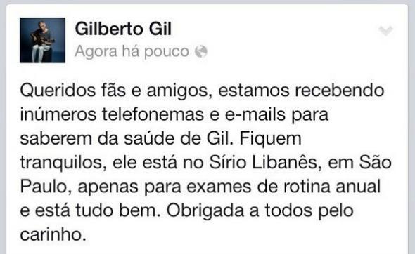 Crédito: Reprodução do Instagram de Gilberto Gil