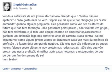 O post de Ingrid Guimarães Crédito: Reprodução Facebook