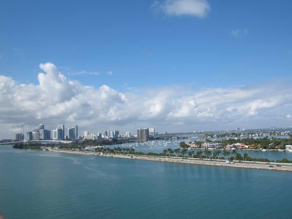 Vista na chegada a Miami
