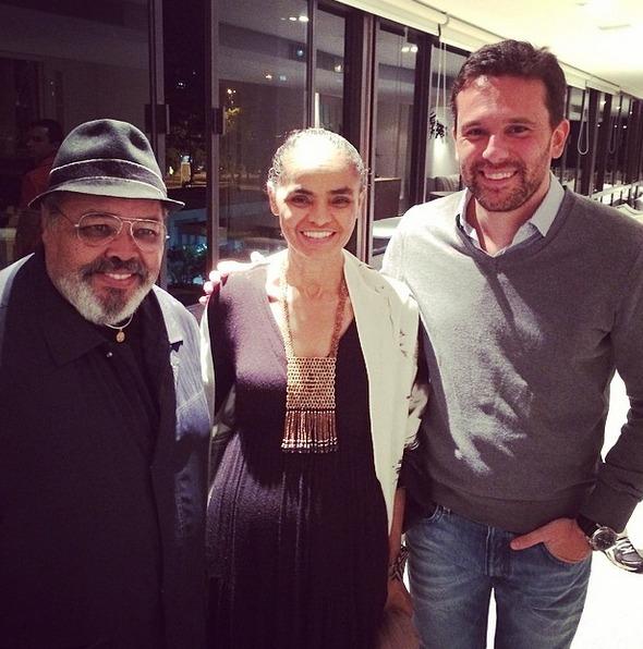 Jorge Aragão, Marina Silva e Augusto Acioli Crédito: Instagram