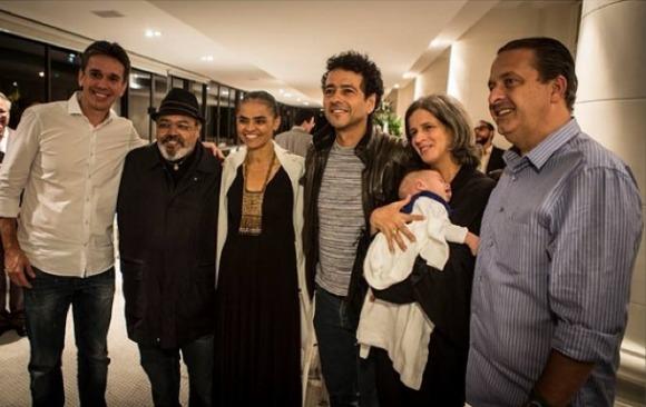 Felipe Carreras, Jorge Aragão, Marina Silva, Marcos Palmeira, Renata e Eduardo Campos Crédito: Instagram