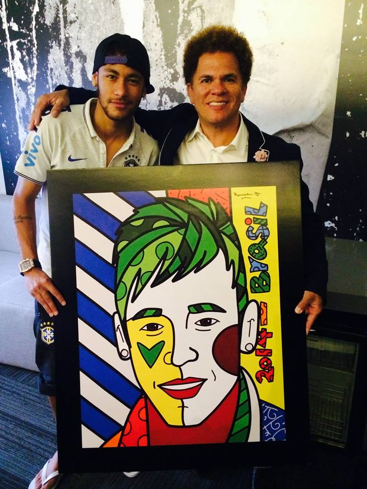 Neymar e Romero Britto  Crédito: Facebook Romero Britto
