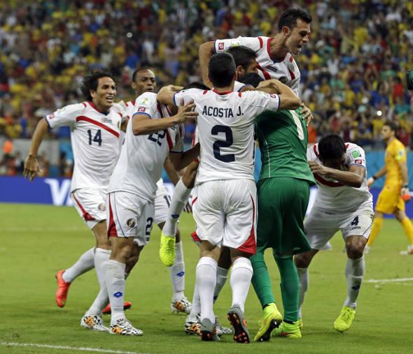 A comemoração dos jogadores da Costa Rica/EBC