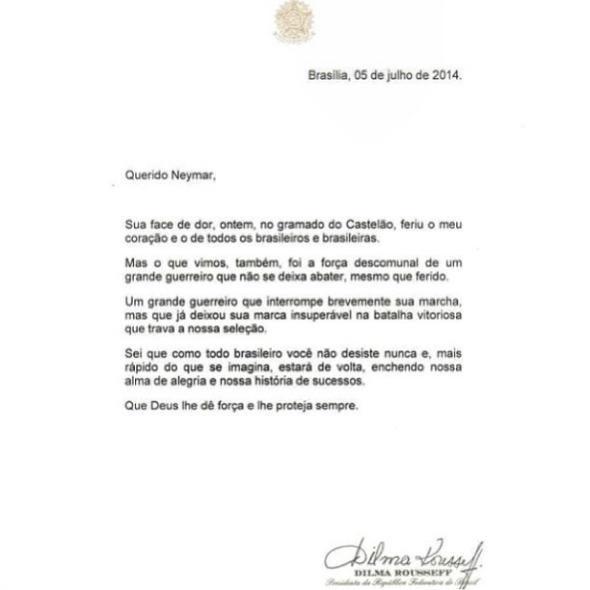 Carta enviada por Dilma a Neymar - Crédito: Divulgação