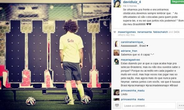 Reprodução do Instagram de David Luiz - Crédito: Reprodução do Instagram