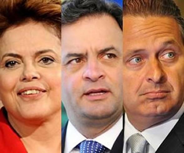 Dilma, Aécio e Eduardo/Divulgação