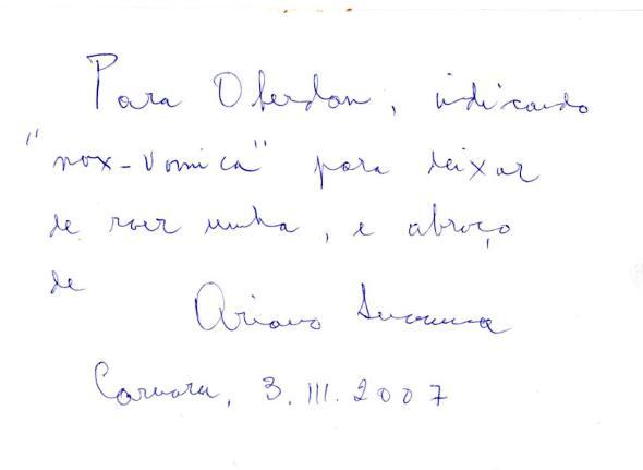 """A única receita do """"Doutor Ariano Suassuna"""""""