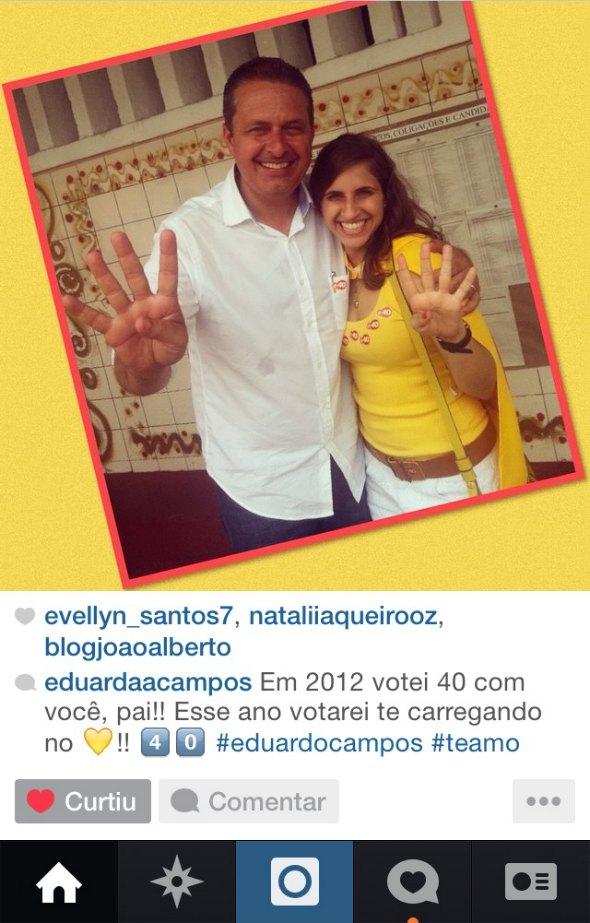 Eduarda Campos presta homenagem ao pai. Crédito: Reprodução Instagram