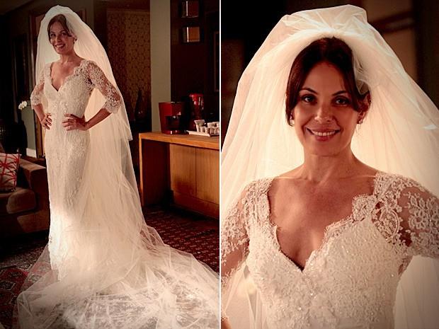 Alexia no casamento com Cadinho. Crédito: Globo / Divulgação