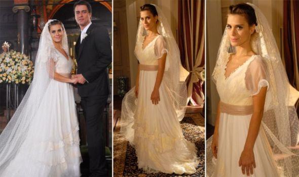 Carol Dickman vestida de noiva no papel de. Crédito: Globo / Divulgação