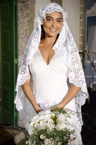 Juliana Paes vestida de noiva como Gabriela. Crédito: Globo / Divulgação