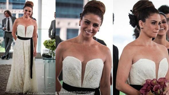 Giovana Antonelli e seu vestido de noiva com faixa preta. Crédito: Globo / Divulgação