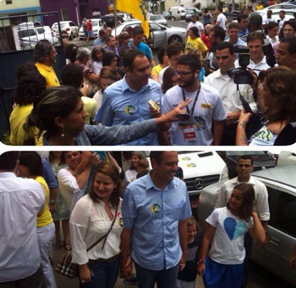 Paulo Câmara foi muito cumprimentado quando chegou à Fundação Cecosne, na Madalena, para votar. Crédito: Júlia Schiaffarino / DP / D.A Press
