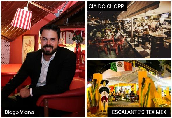 Diogo Viana escolheu o Cia do Chopp e o Escalante's Tex Mex - Créditos: Nando Chiappetta/DP/D.A Press, Reprodução do Instagram e Andre Nery/Divulgação