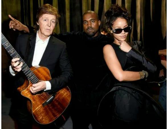 Paul McCartney, Kanye West e Rihanna antes da sua apresentação no Grammy 2015. Crédito: Reprodução Instagram