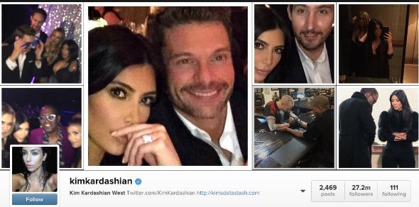 Kim Kardashian tem o perfil mais seguido do mundo. Crédito: Reprodução Instagram