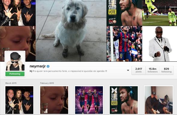 Perfil de Neymar é o mais curtido do Brasil.  Crédito: Reprodução Instagram