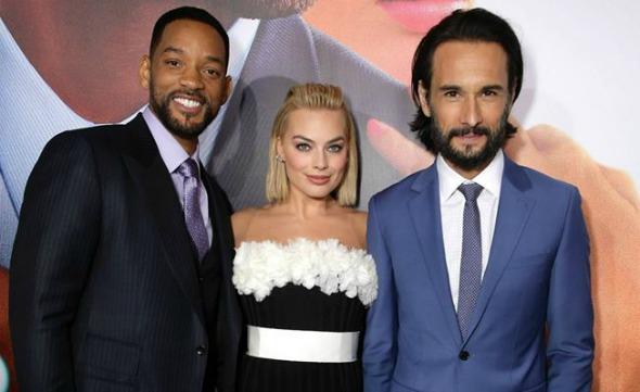 Will Smith, Margot Robbie e Rodrigo Santoro na estreia do filmes, nos Estados Unidos. Crédito: Reprodução Facebook