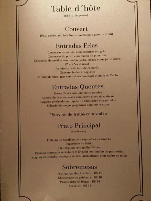 O cardápio do menu degustação