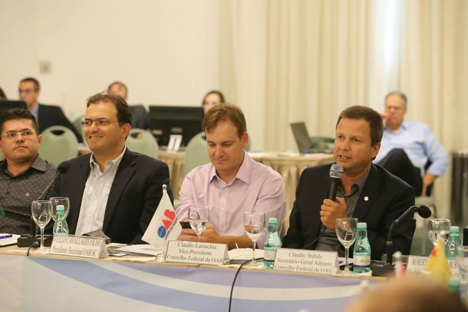 Claudio Lamachia durante Colégio de Presidentes de Seccionais da OAB, onde o anúncio foi feito. Crédito: Eugenio Novaes/CFOAB/Reprodução