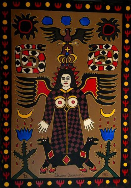 """Painel óleo sobre madeira """"Da Pedra Do Reino"""" (1986), pintado por Ariano Suassuna. Crédito: Reprodução/artemaiorleiloes.com.br"""