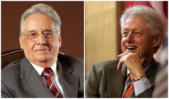 Fernando Henrique Cardoso e Bill Clinton. Crédito: PSDB/Divulgação e Reprodução/Facebook