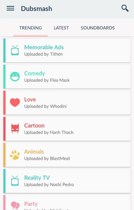 Interface do app Dubsmash. Crédito: Reprodução