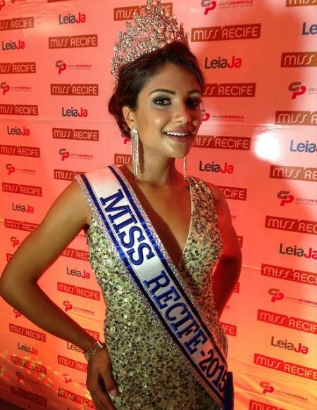 Paula Brandão, a Miss Recife 2015. Crédito: Reprodução Facebook