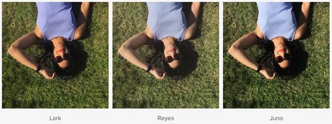 Os três novos filtros do Instagram. Crédito: Divulgação