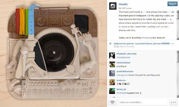 Post inaugural da conta @music. Crédito: Reprodução Instagram